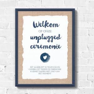Poster bruiloft unplugged ceremonie indigo eco