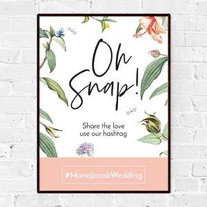 Poster social media hashtag love blooms