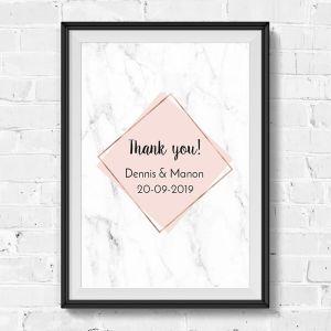 Poster bedankjes marmer pastel roze