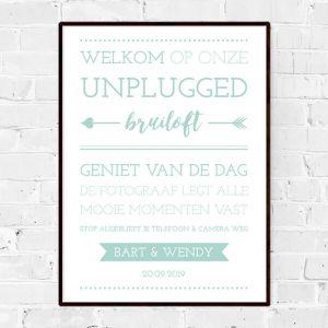 Poster unplugged bruiloft mintgroen typografisch