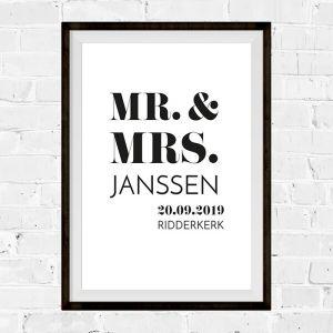 Poster MR. & MRS. Modern typografisch