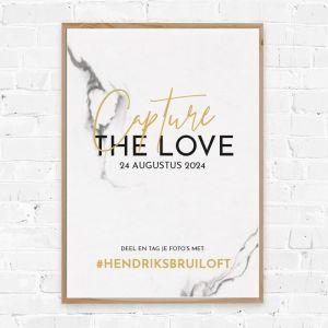 Poster hashtag marmer met goudfolielook