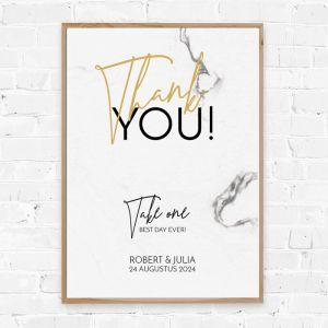Poster bedankjes marmer met goudfolielook