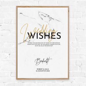 Poster gastenboek marmer met goudfolielook