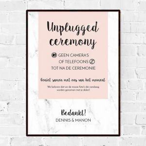 Poster unplugged ceremonie marmer pastel roze