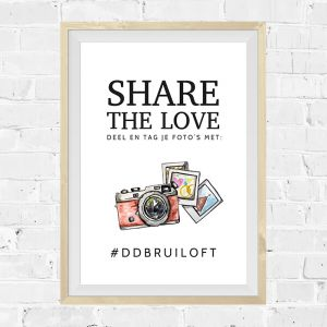 Poster hashtag bruiloft watercolor festival