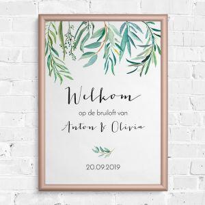 Poster welkom eucalyptus botanical