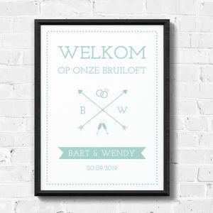 Poster welkom mintgroen typografisch