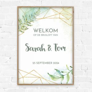 Poster welkom bruiloft Geometric Botanical