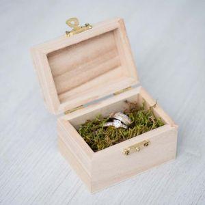 Houten kistje voor trouwringen chique