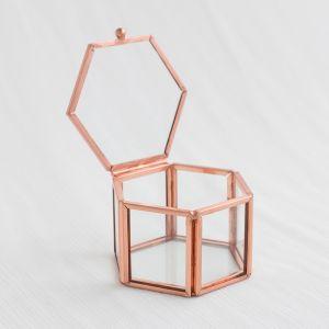 Glazen ringdoosje hexagon roségoud (8x7x5cm) House of Gia