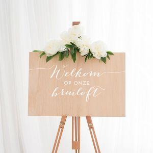 standaard houten welkomstbord bruiloft