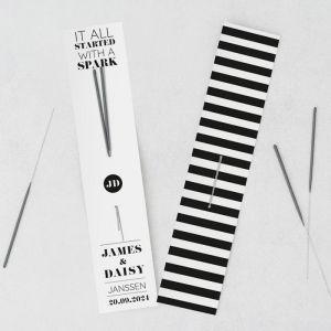 Sterretjes trouwbedankje typografisch modern zwart wit