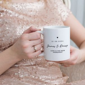 Mok trouwbedankje chique met namen