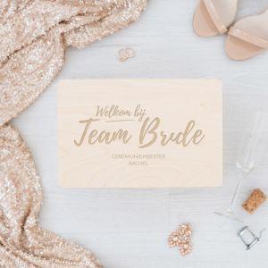 Team bride bewaarkist gepersonaliseerd