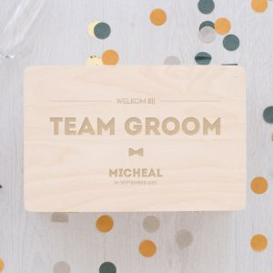 Team groom bewaarkist gepersonaliseerd