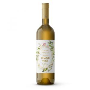 Wijnfleslabel geometric floral bedankt