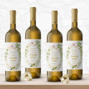 Wijnfleslabel geometric floral bedankt (4st)
