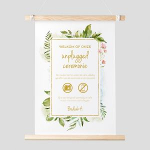 Poster unplugged ceremonie geometric floral