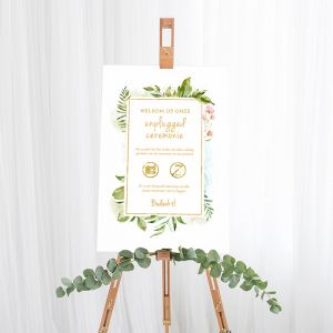 Bruiloft bord unplugged ceremonie geometric floral
