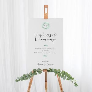 Bruiloft bord unplugged ceremonie lovely eucalyptus