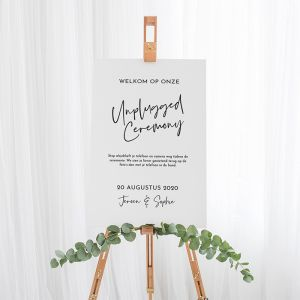 Bruiloft bord unplugged ceremonie modern