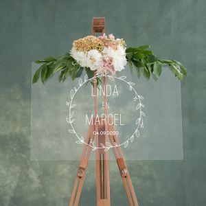 Transparant welkomstbord bruiloft krans en datum