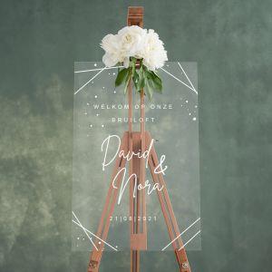 Transparant welkomstbord bruiloft geometrisch