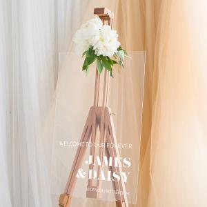 Transparant welkomstbord bruiloft minimalistisch