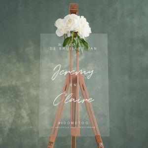 Transparant welkomstbord bruiloft met namen chique