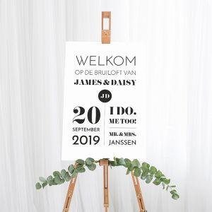 Gepersonaliseerd welkomstbord bruiloft modern paper