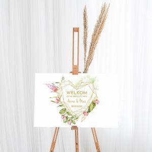 Gepersonaliseerd welkomstbord bruiloft geometric floral hart