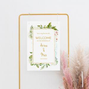 Gepersonaliseerd welkomstbord bruiloft geometric floral