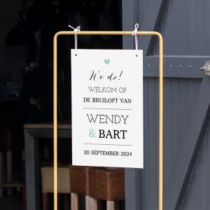 Gepersonaliseerd welkomstbord bruiloft lovely lettertypes