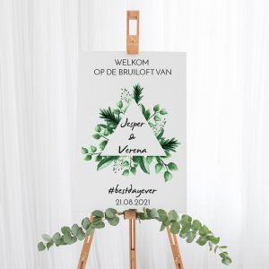 Gepersonaliseerd welkomstbord bruiloft touch of nature