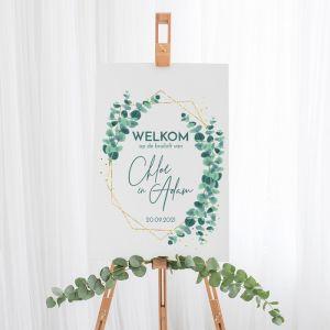 Gepersonaliseerd Welkomstbord Bruiloft Golden Green