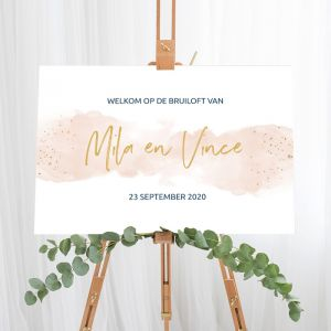 Gepersonaliseerd welkomstbord elegance breeze peach Nederlands