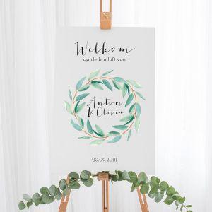 Gepersonaliseerd welkomstbord bruiloft eucalyptus krans