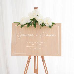 Houten welkomstbord bruiloft chique met kader