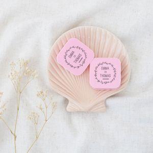 Zeep bedankje bruiloft vierkant met krans en namen
