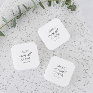 Gepersonaliseerd zeepje vierkant bruiloft bedankje classy met namen