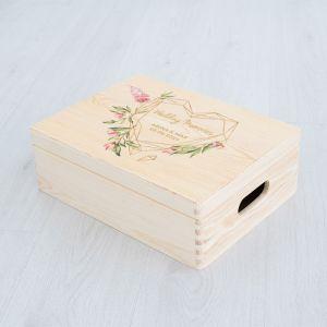 Houten bewaarkist geometric floral