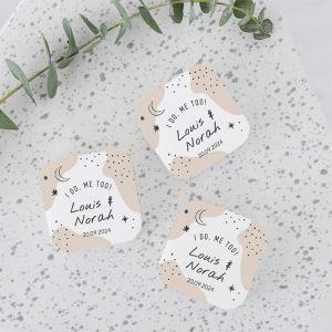 vierkant zeep bedankje bruiloft gepersonaliseerd cosmic love