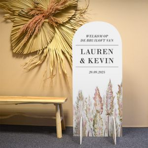 Welkomstbord staand halfrond pampas gras