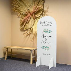Welkomstbord staand halfrond lovely eucalyptus
