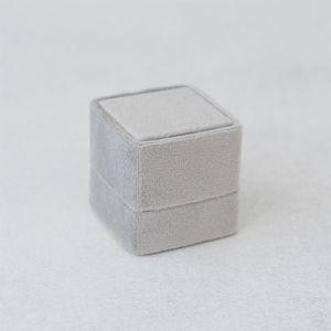 Velvet ringdoosje vierkant Marble Grey forever Box