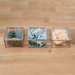 Ringdoosje glas vierkant modern paper met namen
