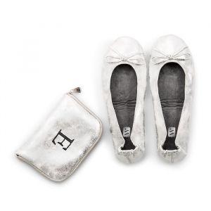 Opvouwbare ballerina's met tasje zilver gepersonaliseerd