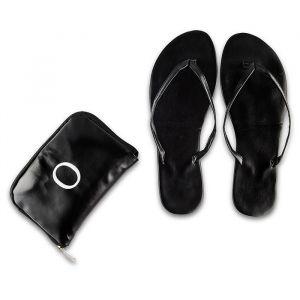 Opvouwbare flip flop's met tasje zwart gepersonaliseerd