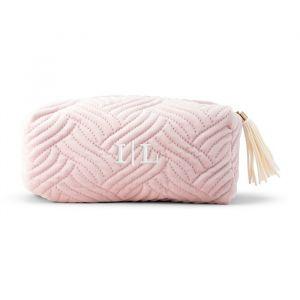 Toilettas quilted velvet blush pink gepersonaliseerd